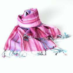 Nepal-Schal-Baumwolle-Rosa-Blau-Streifen