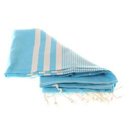 Sky blue stripped hammam or sauna towel