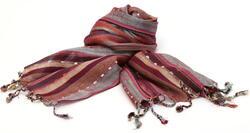 Nepal-Schal-Baumwolle-Verschiedene-Streifen-mit-Gold