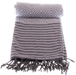 White Grey Hammam Towel